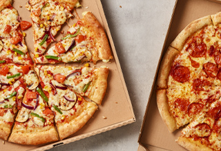 Get any 2 Medium Pizzas, Potato Wedges and Garlic Pizza Sticks for just £20.99. Add £3 for Large.