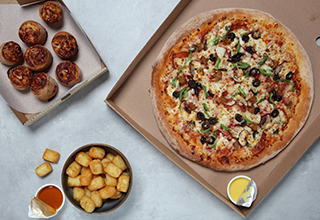 Any large pizza and two classic sides for £19.99. Upgrade to any side for £1
