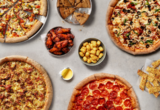 Any four large pizzas, four portions of wedges and two desserts for £50