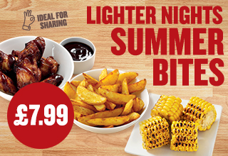 Corn on the Cob, Wings and Potato Wedges £7.99