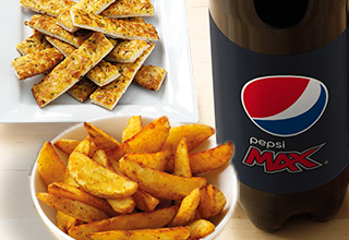 Large Drink, Potato Wedges and Garlic Pizza Sticks.